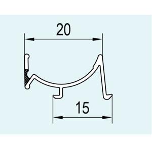 SanSwiss ND. těsnění svislé do profilu (82303), 184cm, křídlové dveře 82303.KD.1837 82303.KD.1837