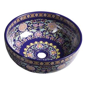 SAPHO PRIORI keramické umyvadlo, průměr 40,5cm, 15,5cm, fialová s ornamenty PI022