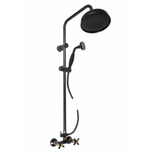 SLEZAK-RAV Vodovodní baterie sprchová MORAVA RETRO s hlavovou a ruční sprchou , Barva: černá matná/stará mosaz, Rozměr: 100 mm MK181.0/3CMATSM