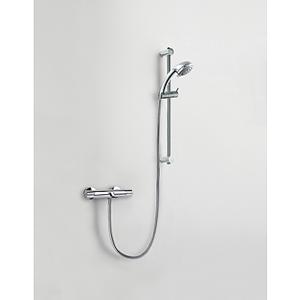 TRES Termostatický vanová set · Posuvná tyč 516 mm (1.61.835). · Masážní sprcha, 3 polohy. (1. 183398