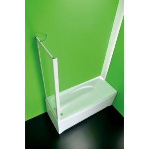 Vanová zástěna SOPRAVASCA FISSO CC 90 87 cm × 150 cm, Nelze otevírat, Plast bílý, Čiré bezpečnostní sklo 3 mm, Univerzální BSSVF90CCS