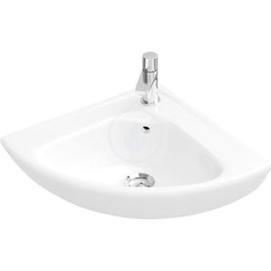 VILLEROY & BOCH O.novo Rohové jednootvorové umývátko s přepadem Compact, 415 mm x 415 mm, bílé umývátko 73274001